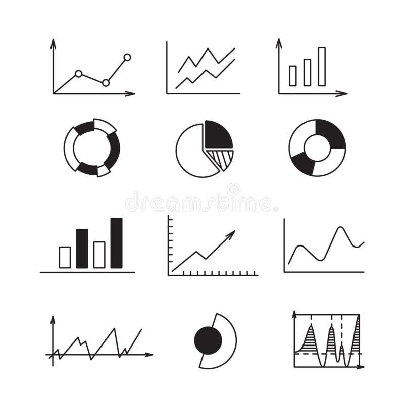 Metta le icone: grafico, grafico, diagramma Guadagni di analisi dei dati di affari e di finanza di concetto illustrazione di stock