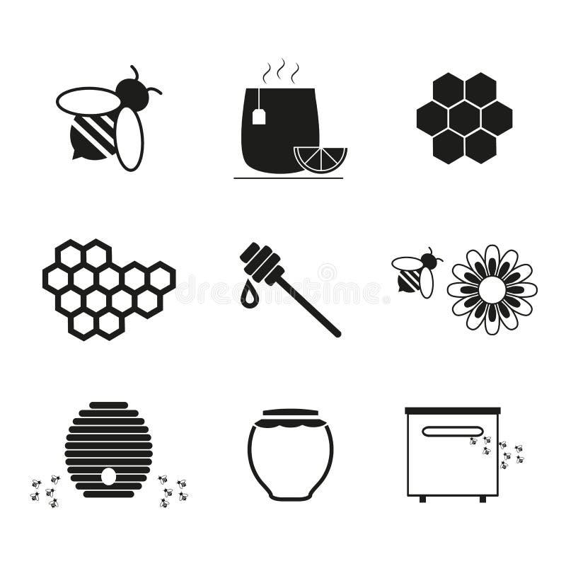 Metta le icone online del miele illustrazione di stock