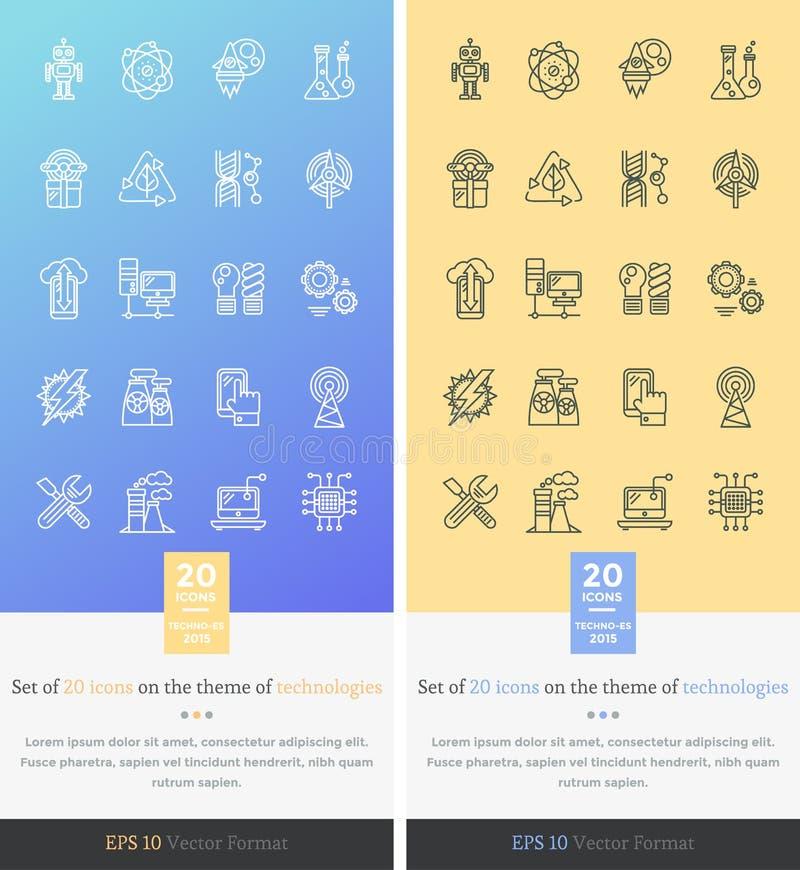 Metta le icone sul tema della tecnologia moderna royalty illustrazione gratis