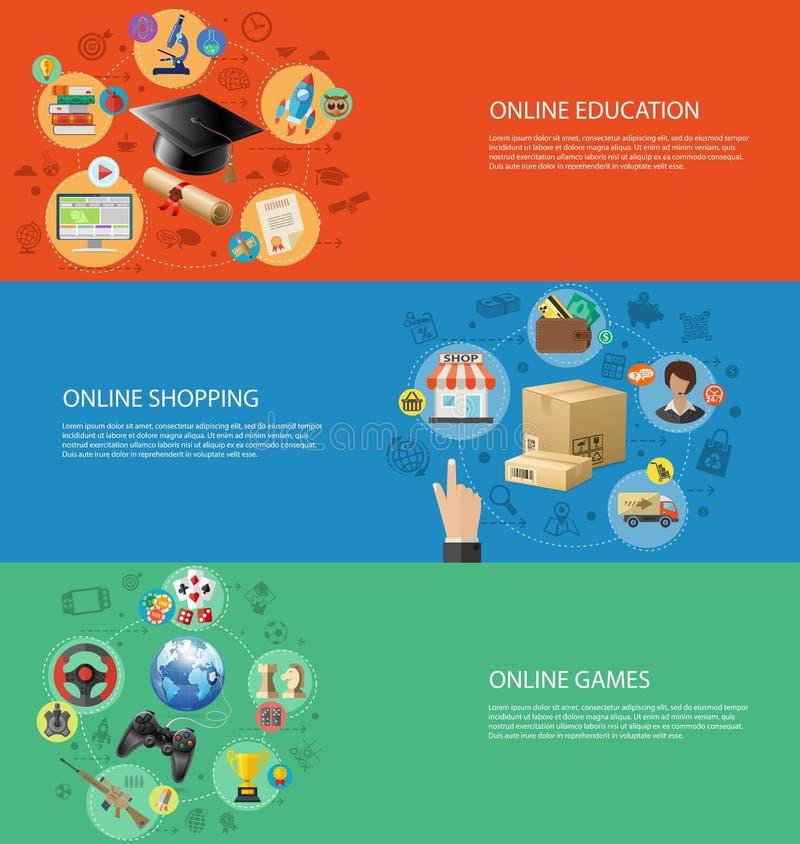 Metta le insegne della tecnologia online di Internet royalty illustrazione gratis