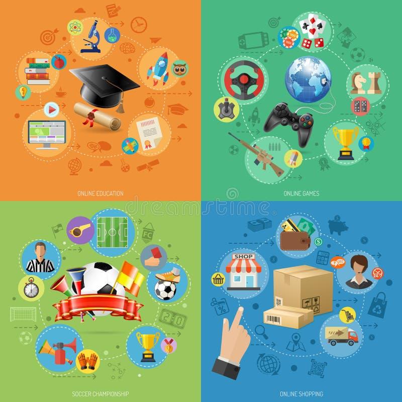 Metta le insegne della tecnologia online di Internet illustrazione vettoriale