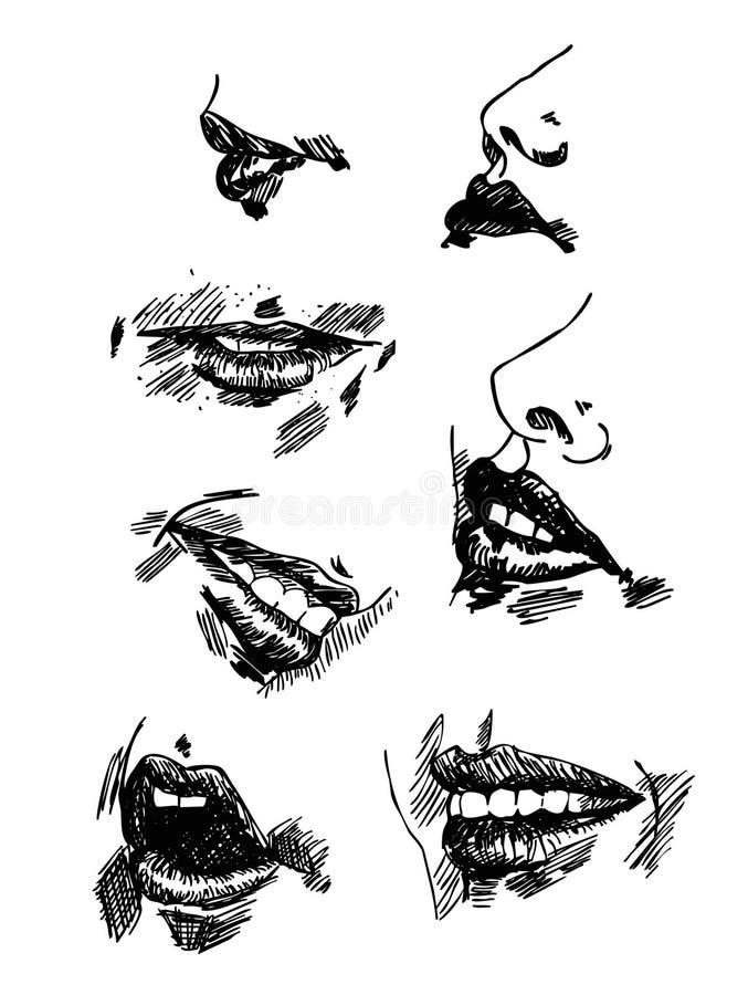 Metta le labbra del disegno a matita Schizzo realistico illustrazione vettoriale