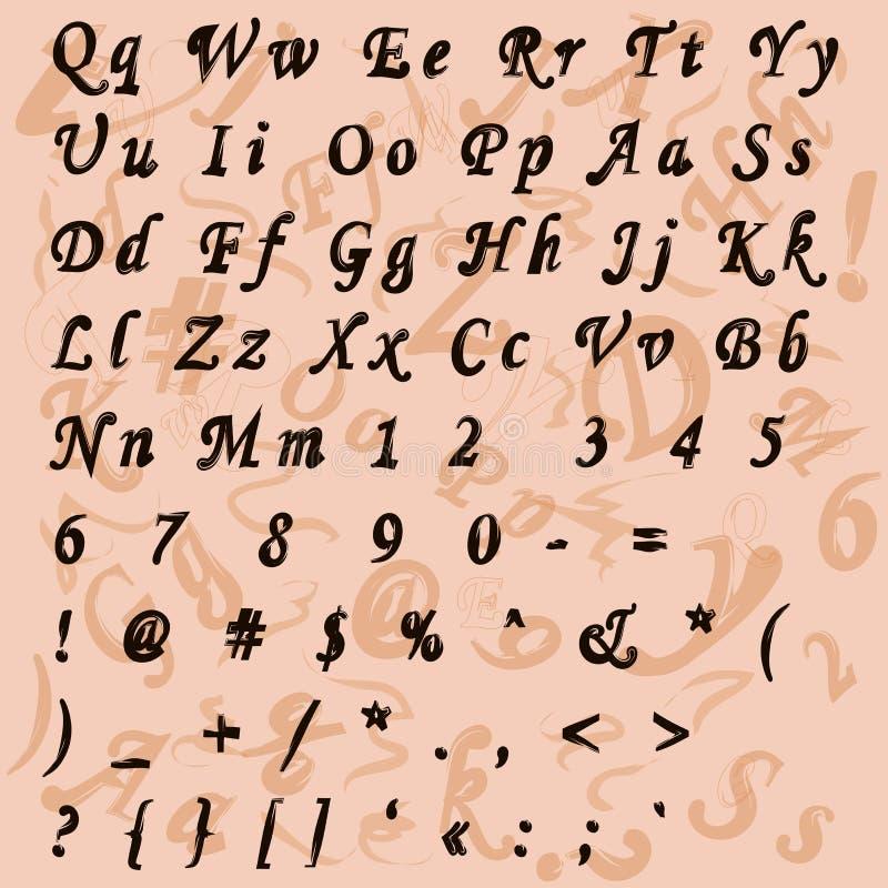 Metta le lettere, l'alfabeto (fonte) su un retro tema illustrazione vettoriale