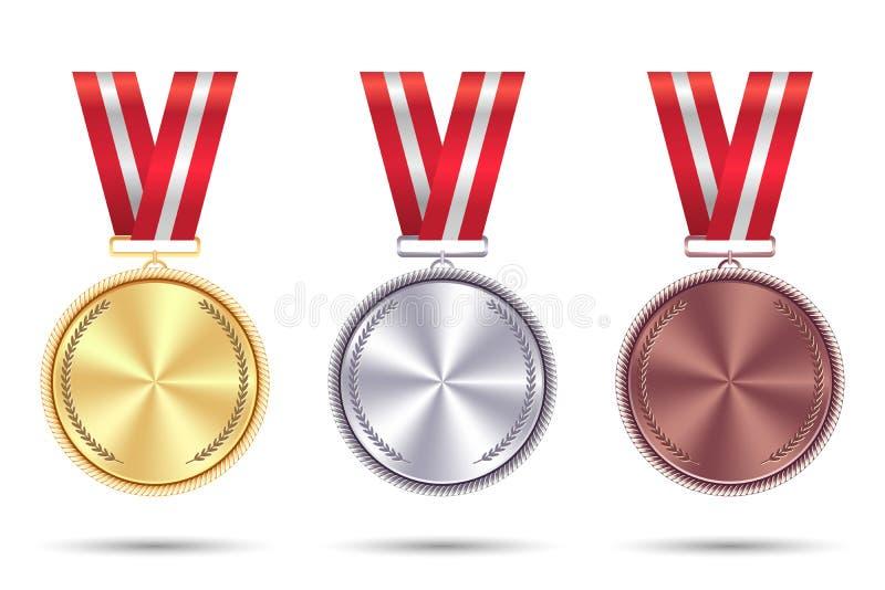 Metta le medaglie di oro, di argento e di bronzo con il nastro rosso Vettore immagine stock