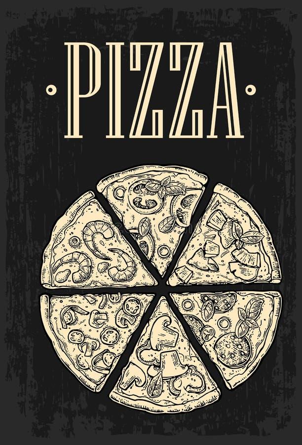Metta le merguez della pizza della fetta, il hawaiano, Margherita, il messicano, i frutti di mare, Capricciosa illustrazione vettoriale