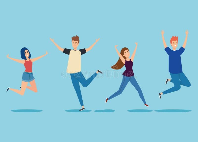 Metta le ragazze ed i ragazzi che saltano con le mani su illustrazione di stock