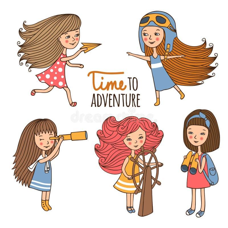 Metta le ragazze l'esploratore illustrazione di stock