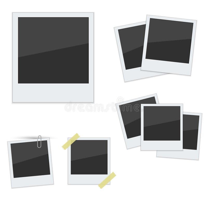 Metta le strutture della foto della polaroid su fondo bianco illustrazione vettoriale