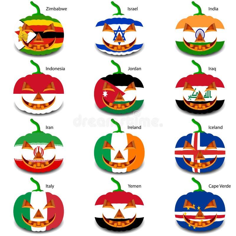 Metta le zucche per Halloween come bandiere del mondo illustrazione vettoriale