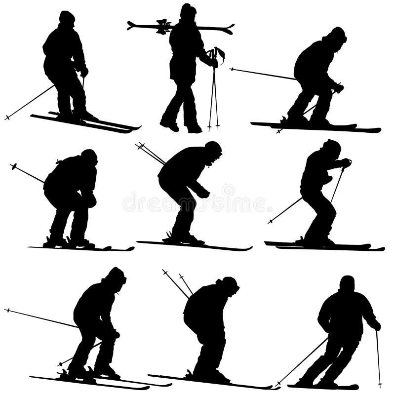 Metta lo sciatore della montagna che accelera giù il pendio Siluetta di sport di vettore royalty illustrazione gratis