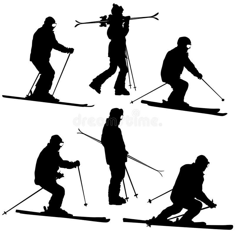 Metta lo sciatore della montagna che accelera giù il pendio Siluetta di sport di vettore illustrazione di stock