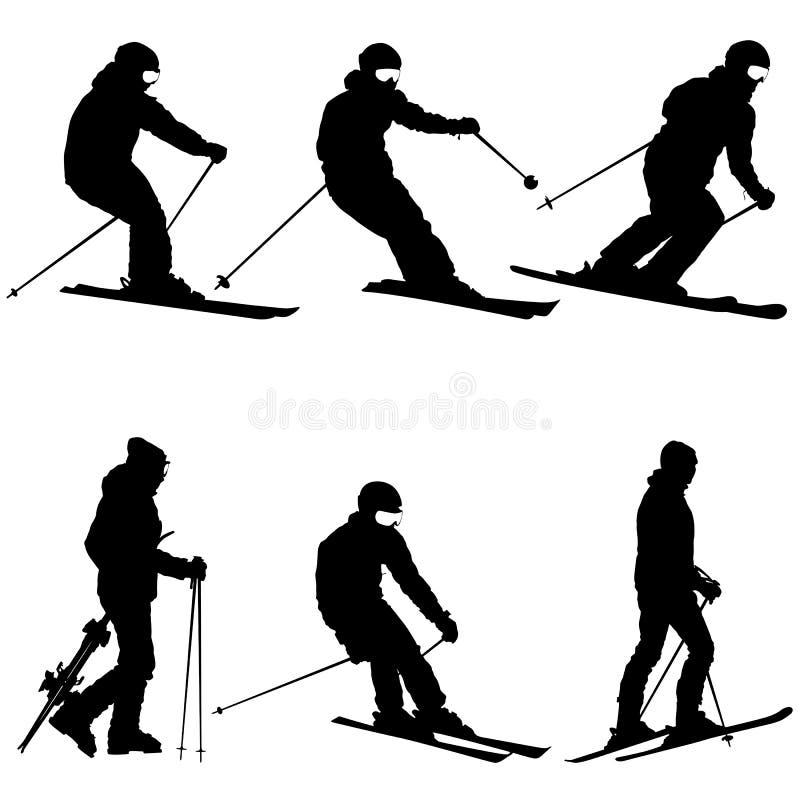 Metta lo sciatore della montagna che accelera giù il pendio Siluetta di sport di vettore illustrazione vettoriale