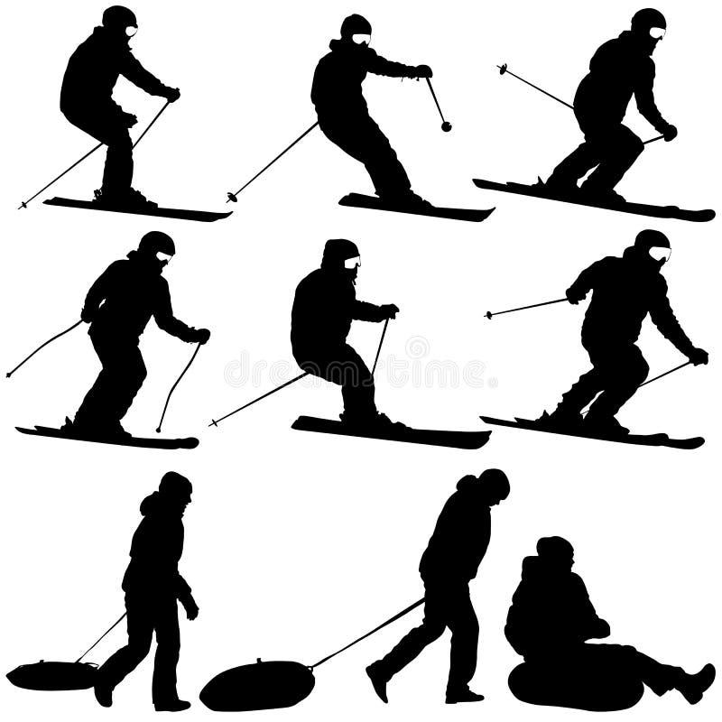 Metta lo sciatore della montagna che accelera giù la siluetta di sport del pendio illustrazione vettoriale