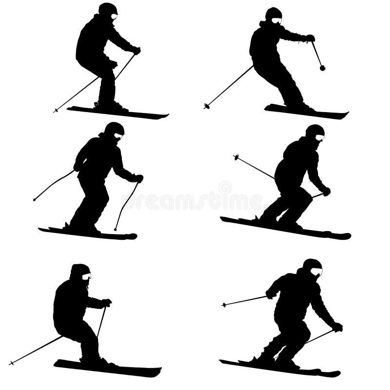 Metta lo sciatore della montagna che accelera giù la siluetta di sport del pendio royalty illustrazione gratis
