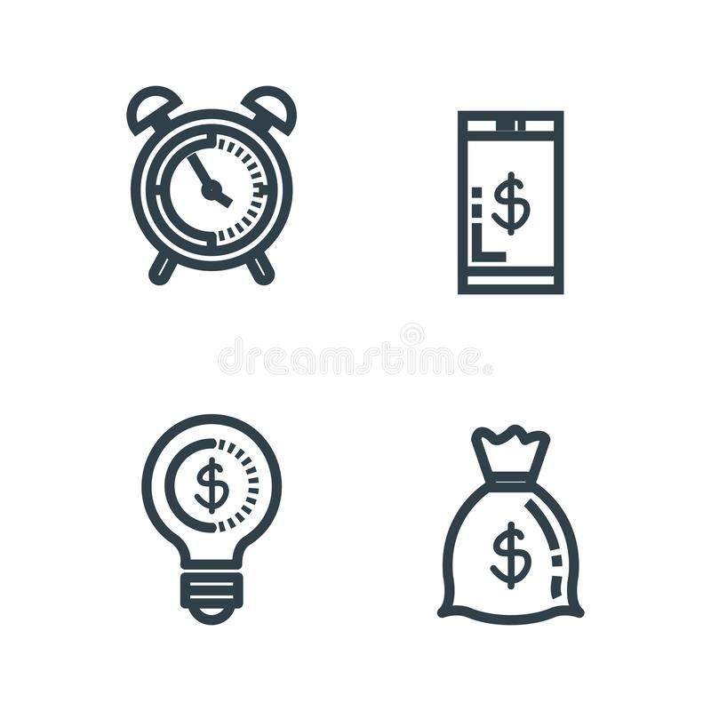 Metta lo smartphone con la borsa e l'orologio dei soldi illustrazione vettoriale
