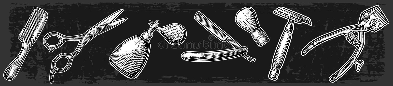 Metta lo strumento per il parrucchiere illustrazione di stock