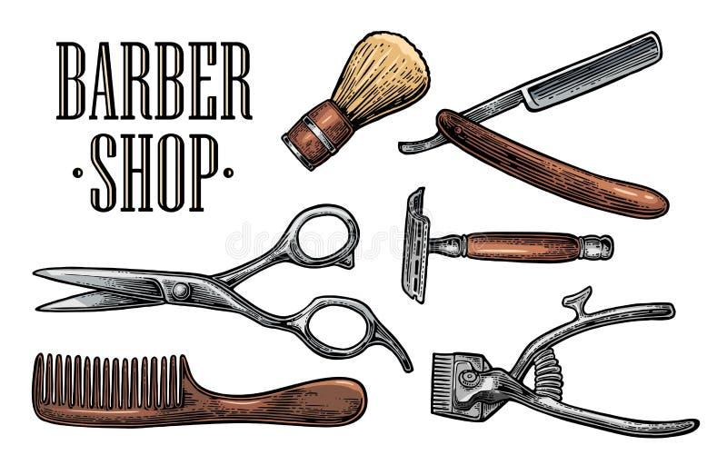 Metta lo strumento per il parrucchiere con il logotype illustrazione vettoriale