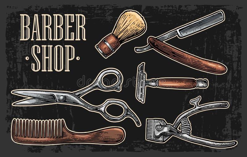 Metta lo strumento per il parrucchiere con il logotype royalty illustrazione gratis