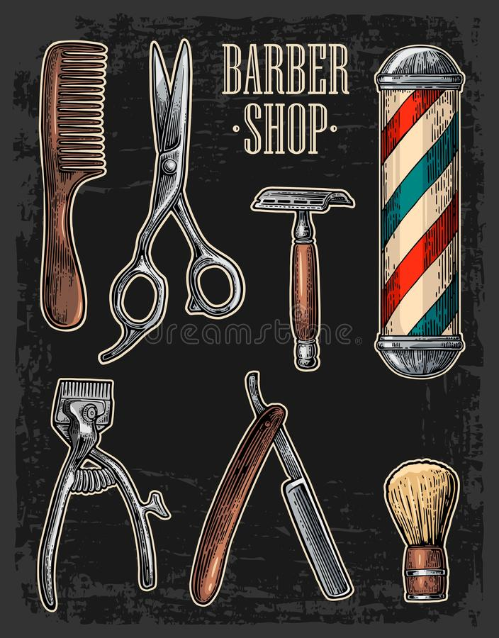 Metta lo strumento per il parrucchiere con il logotype Incisione d'annata disegnata vettore illustrazione vettoriale