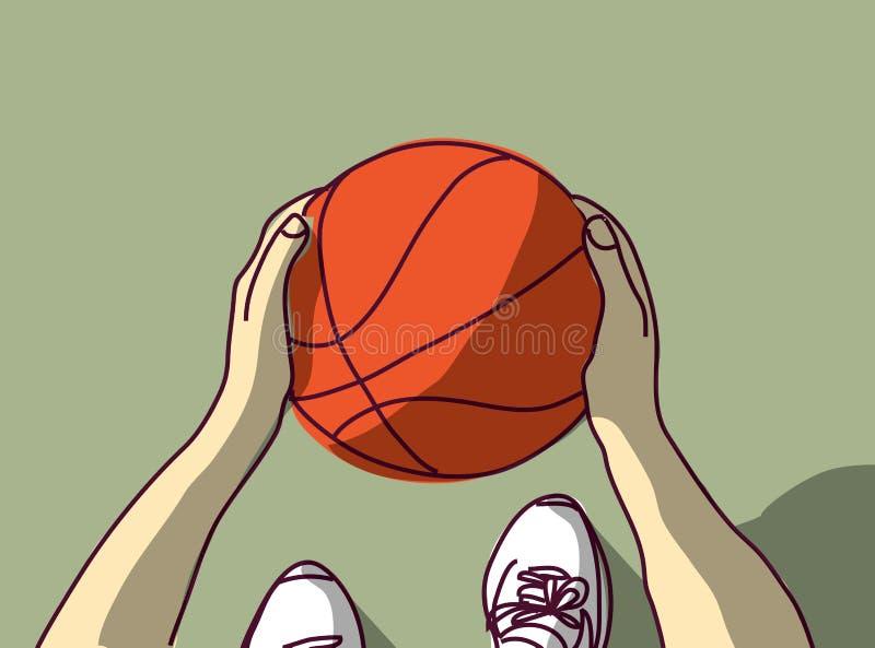 Metta in mostra i piedi delle mani di pallacanestro e la vista superiore della palla royalty illustrazione gratis