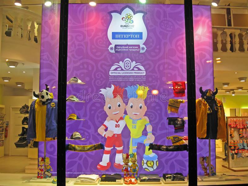 Metta in mostra i vestiti per i divertimenti a Kiev, sport di gioco del calcio fotografie stock libere da diritti