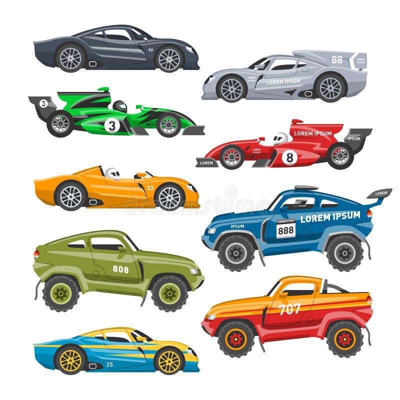 Metta in mostra il vettore automatico di corsa del motorsport del trasporto dell'autista dell'automobile della velocità e del mot royalty illustrazione gratis