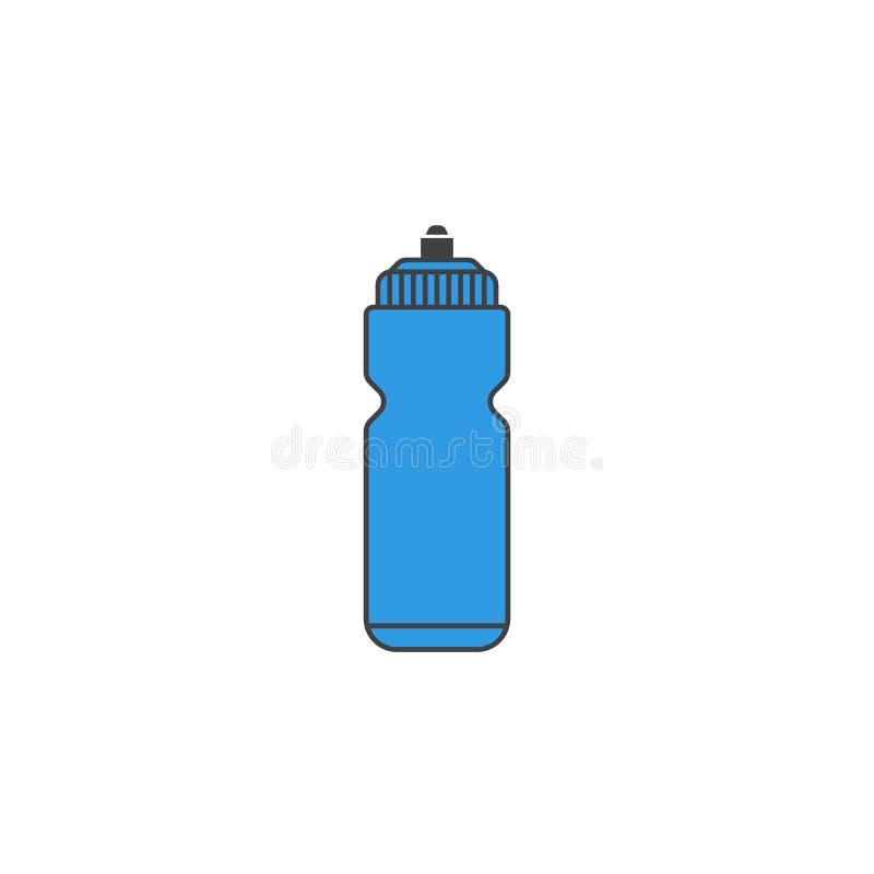 Metta in mostra l'icona solida dell'acqua di bottiglia, idro boccetta illustrazione vettoriale