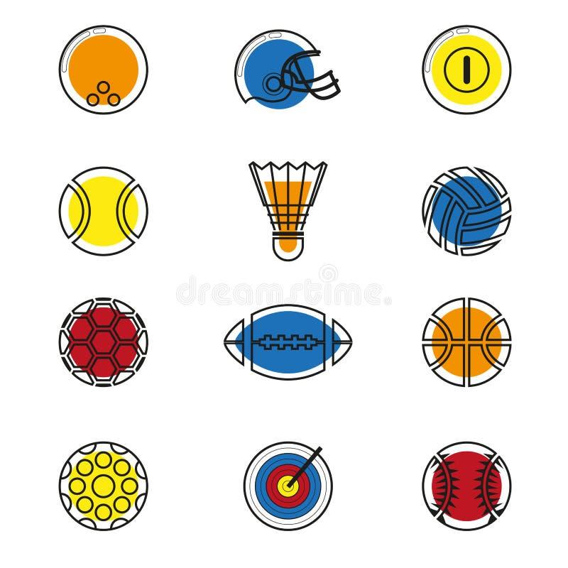 Metta in mostra le icone impostate illustrazione vettoriale