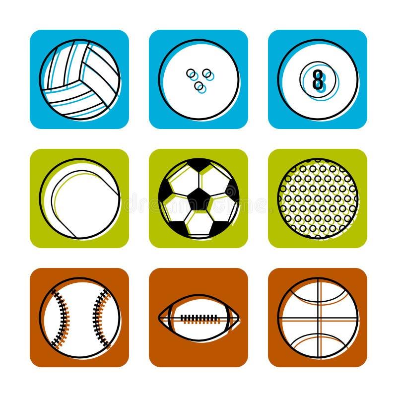 Metta in mostra le palle sul fondo di colore, le icone piane, illustrazione di vettore illustrazione di stock