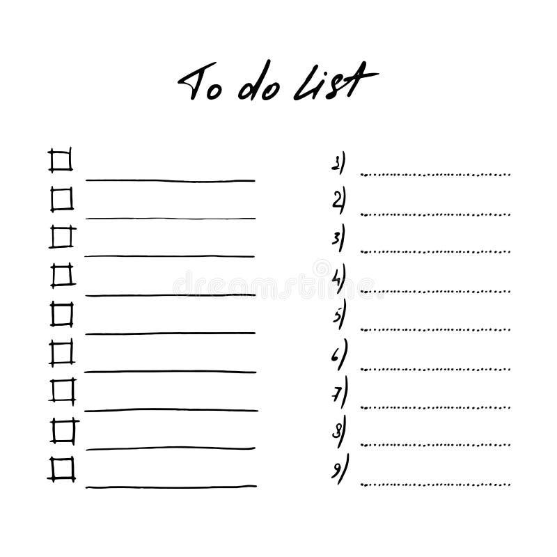 Metta per fare le liste i modelli di vettore che della pagina scarabocchiano la progettazione illustrazione di stock