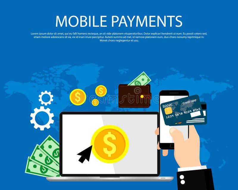 Metta per finanza, le attività bancarie, il pagamento online, commercio online Illustrazione di vettore illustrazione vettoriale
