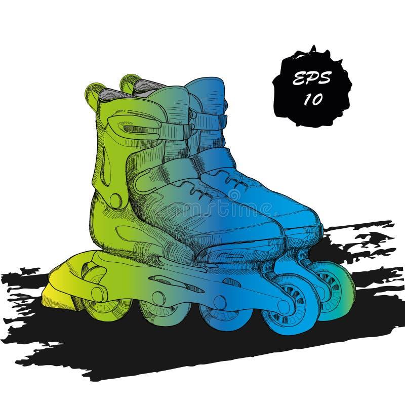 Metta per i pattini di rullo con testo Logo isolato disegnato a mano illustrazione di stock