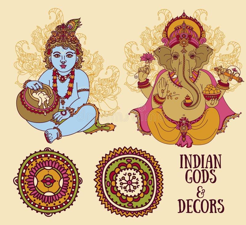 Metta per le feste indiane con pochi Krishna e Lord Ganesha ed ornamenti etnici illustrazione vettoriale
