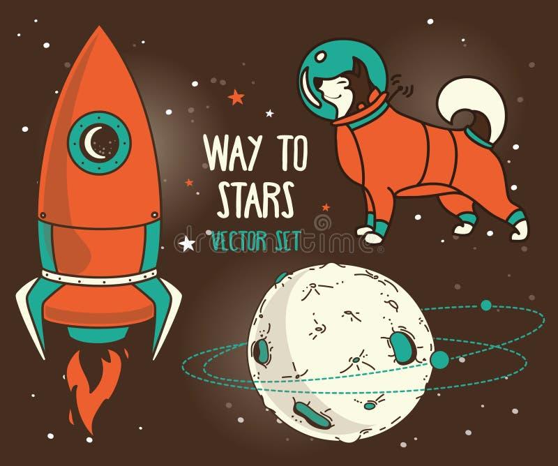 Metta per progettazione cosmica: pianeta, cane-astronauta e razzo illustrazione di stock