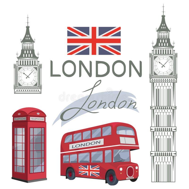 Metta per progettazione su Londra Bandiera della Gran Bretagna Bus di Londra Torretta del grande Ben Cabina telefonica di Londra illustrazione di stock