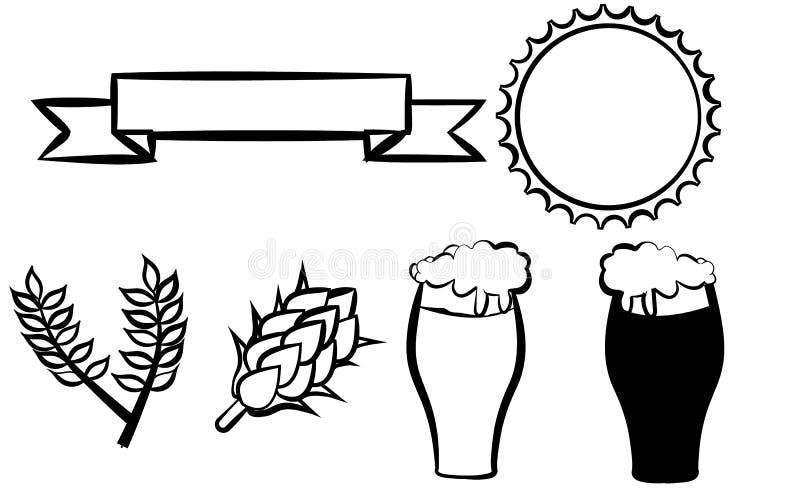 Metta per una bottiglia di birra, una barra di sei nastri differenti neri delle icone di vetro di birra del luppolo e le struttur royalty illustrazione gratis