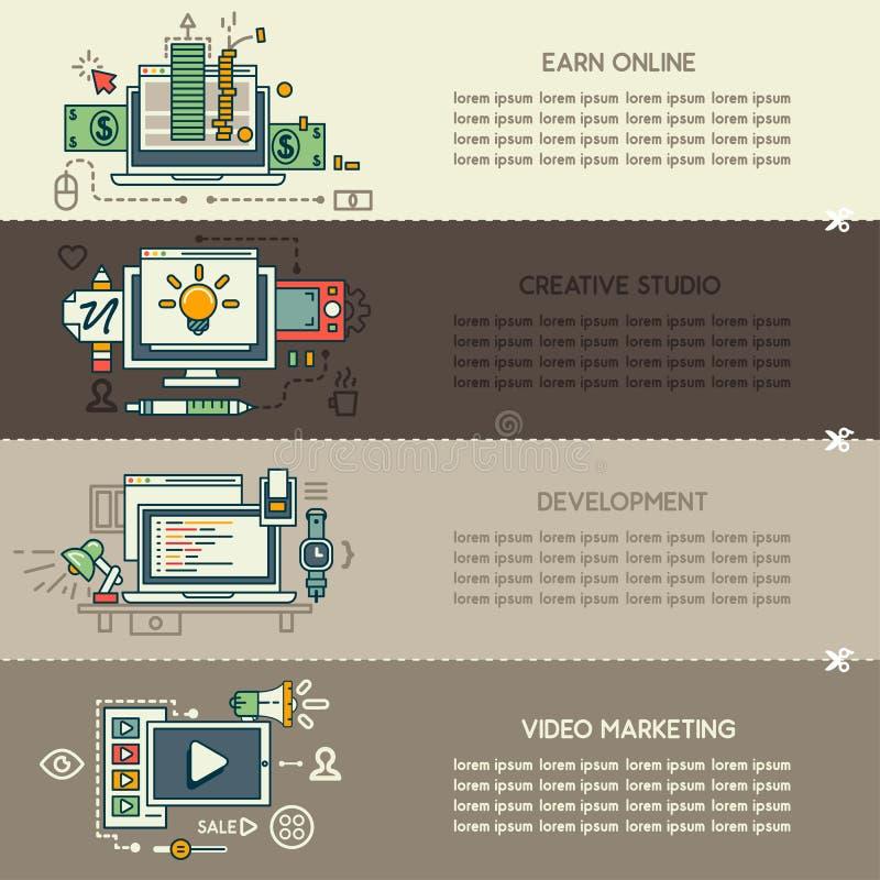 Metta quindici delle insegne della tecnologia di Internet illustrazione di stock