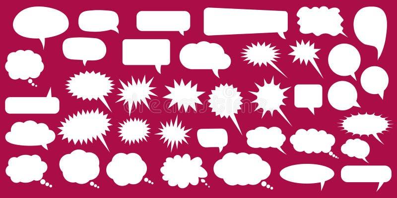Metta, raccolta dei fumetti piani di vettore di stile, le nuvole, baloons Conversazione, parlando, chiacchierando, gridando, ride royalty illustrazione gratis