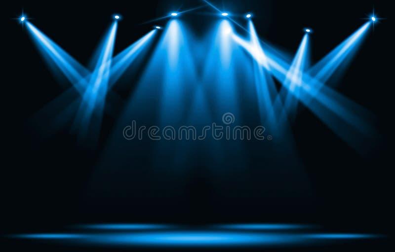 Metta in scena gli indicatori luminosi Colpo blu del riflettore con l'oscurità illustrazione di stock