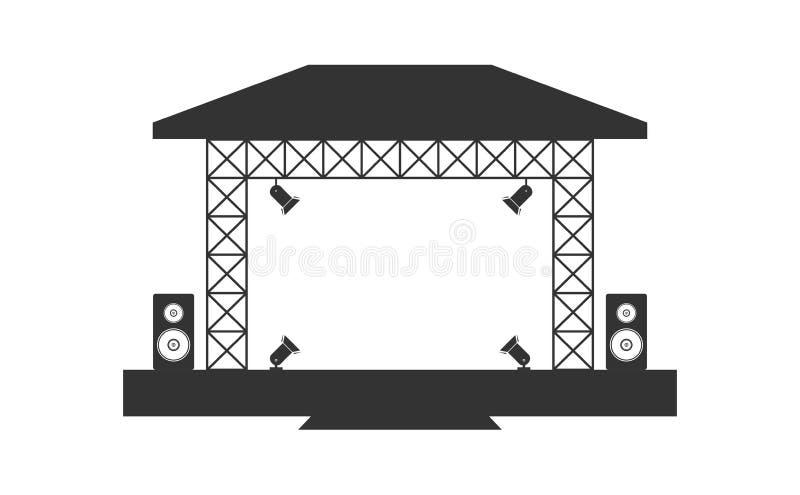 Metta in scena il concerto, il teatro, il podio, il riflettore, la luce della fase, la fase vuota, gli altoparlanti musicali dell illustrazione di stock