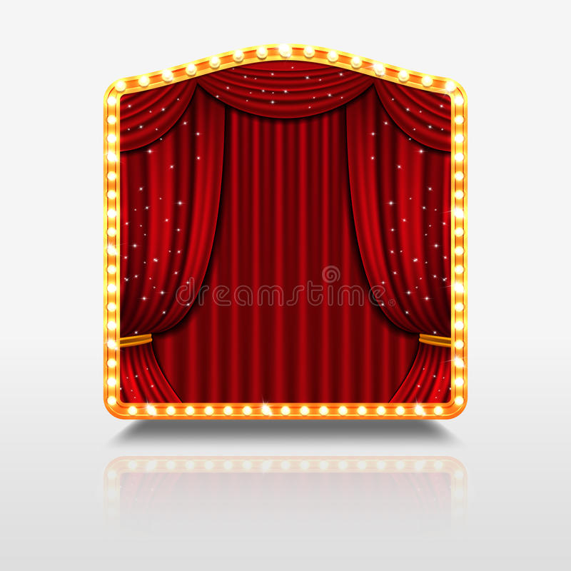 Metta in scena la tenda in insegna brillante con l'illustrazione dorata di vettore della struttura royalty illustrazione gratis