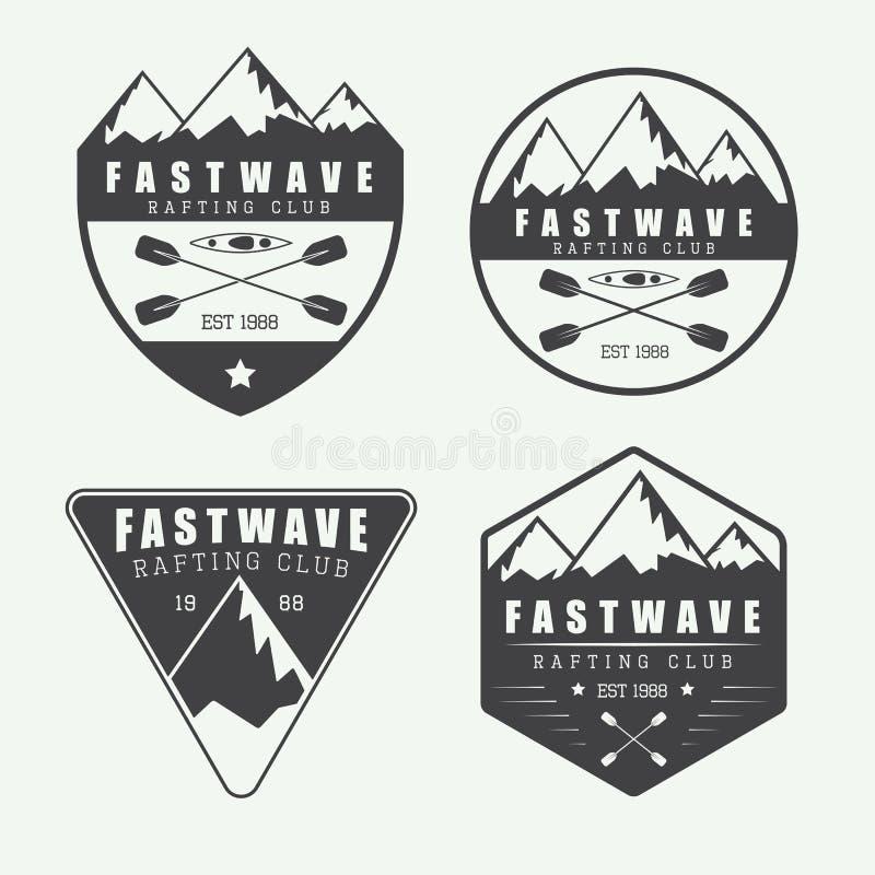 Metta se logo d'annata, etichette e distintivi di rafting illustrazione vettoriale