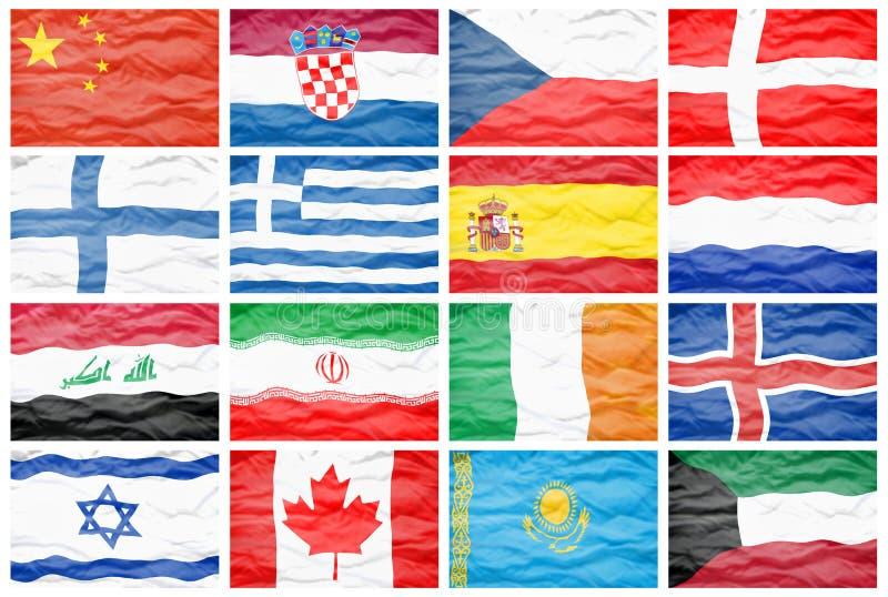 Metta sedici grandi bandiere nazionali differenti royalty illustrazione gratis