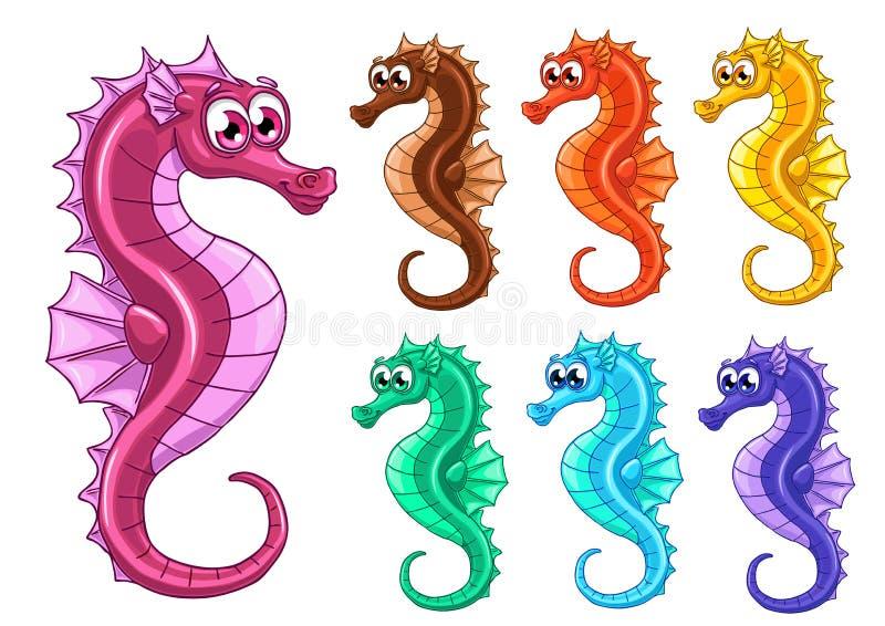 Metta sette cavallucci marini iridescenti su bianco illustrazione di stock