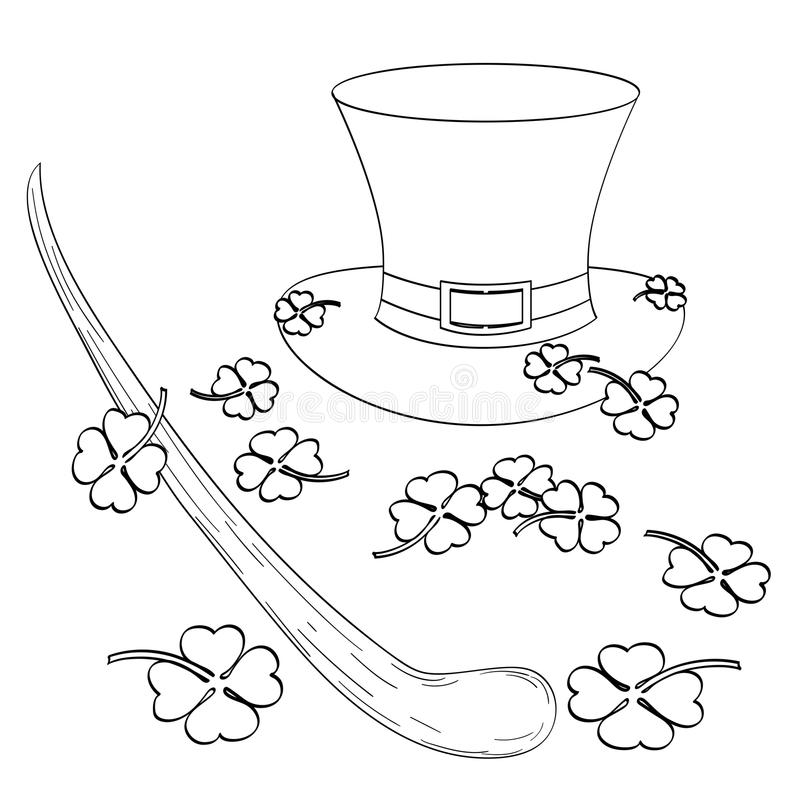 Metta sul tema del san Patric Day Il cappello, il trifoglio, la canna o il trole di gnomo Stile comico d'imitazione Libro di colo illustrazione vettoriale