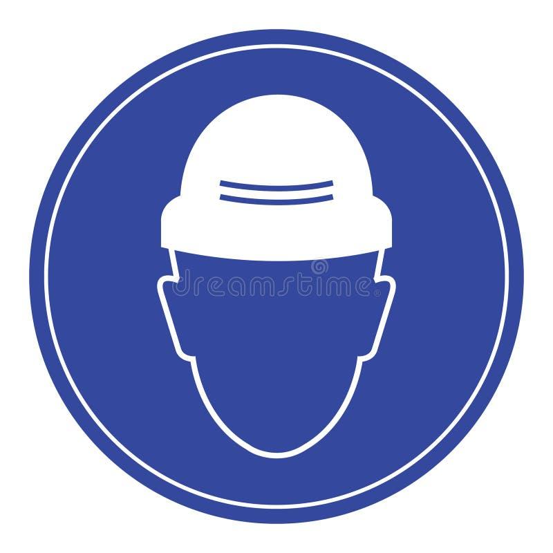Metta un cappello di sicurezza, segnaletica di sicurezza richiesta fotografia stock
