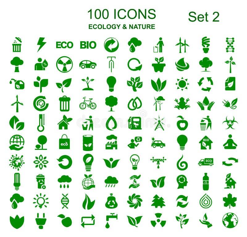 Metta un numero due di 100 icone dell'ecologia - vettore royalty illustrazione gratis