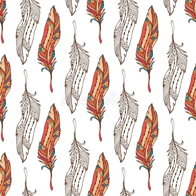 Download Mette Le Piume Al Modello Senza Cuciture Nello Stile Di Boho Modello Etnico Dell'ornamento Di Scarabocchio Con Le Piume Di Vettor Illustrazione Vettoriale - Illustrazione di decorativo, hippie: 56886808