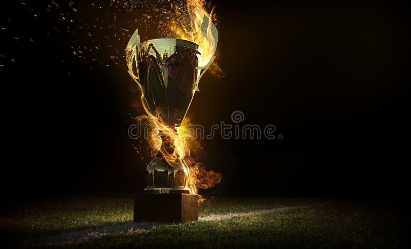 Mette in mostra il fondo Calice bruciante del trofeo Vincitore in una concorrenza Fuoco ed energia Campo di football americano co immagine stock libera da diritti