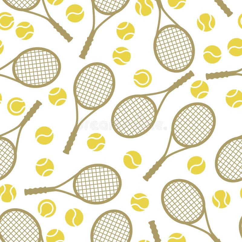 Mette in mostra il modello senza cuciture con le icone del tennis in piano illustrazione vettoriale